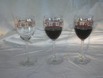 Twisted Stem Red Wine 4 Glasses with Cattle Brands