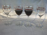 Twisted Stem Red Wine 4 Glasses with Barb Wire