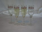 Champagne Flutes with Cattle Brands Set of 4